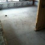 Living Room Floor with grinding completed and filler applied
